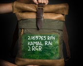 Unique bag One of-a-kind backpack Canvas and leather backpack Roll top backpack by Kruk Garage Made of vintage military canvas Mens rucksack