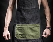 Denim apron with canvas pockets and military belts Work apron by Kruk Garage Barber apron Barista apron Mens gift Birthday gift