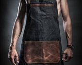 Denim apron with leather pockets and military belts by Kruk Garage Work apron Barista apron Barber apron Father's Day gift FREE STAMPING