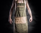 Canvas apron with canvas pockets and army adjustable belts by Kruk Garage Work apron Mens apron Mens gift Christmas gift Birthday gift