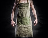 Canvas  apron with canvas pockets and army belts by Kruk Garage Work apron Barista apron Barber apron Mens apron Christmas gift