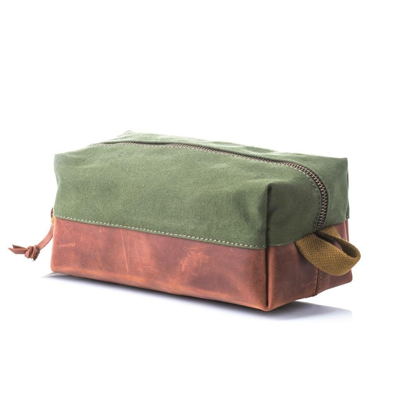 Dopp kit made of military canvas and leather Pouch Toiletry bag Vintage Dopp kit Birthday gift Groomsmen gift idea Free personalization