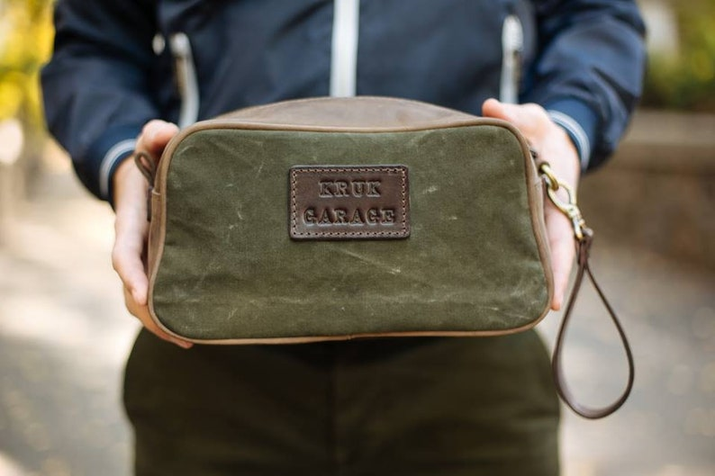 e9946682e7 Vintage canvas pouch Toiletries and amenities kit Leather pouch Toiletry  bag Necessaries bag Mens gift Valentines Day gift Personalized gift