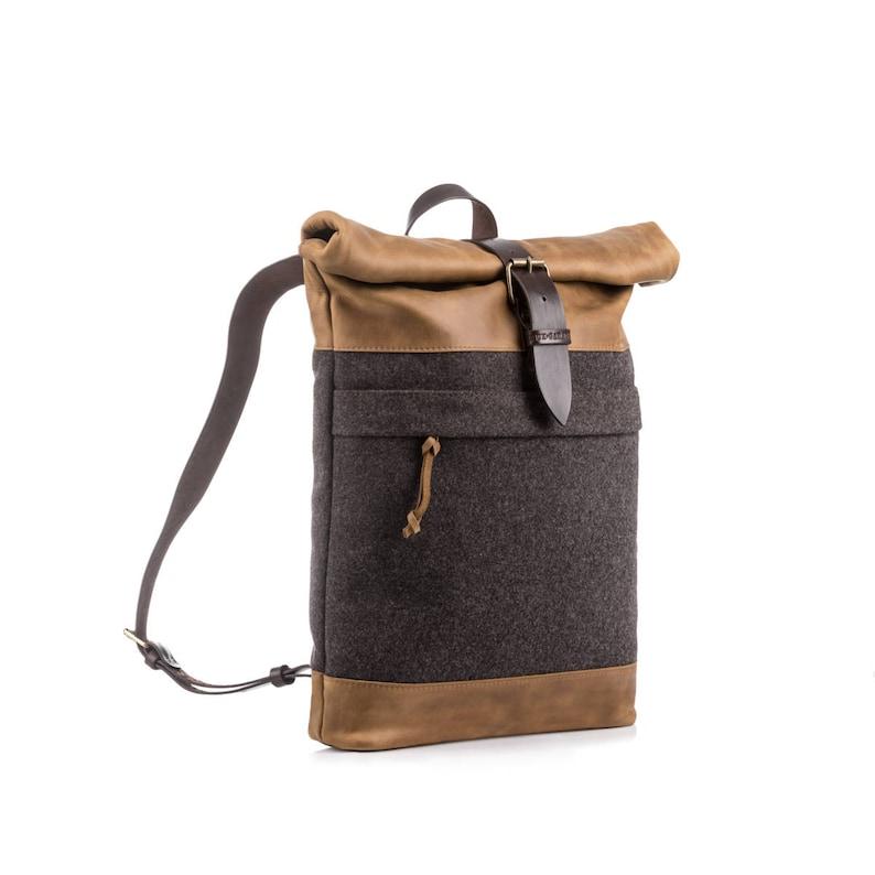 Wool felt backpack Men/'s backpack Roll top backpack Laptop backpack Winter backpack Upcycled backpack Men/'s gift Christmas gift