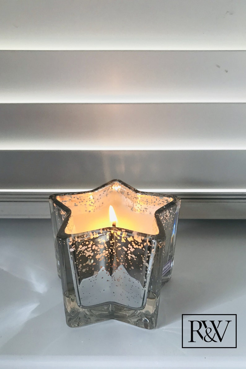 Silver Star Christmas Candle Fragrance Soy Wax Candle Lime image 0