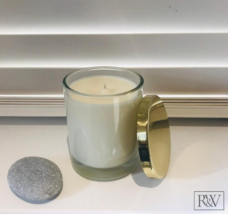Soy Wax Home Candle with Yellow Gold Lid Fragranced Candle image 0