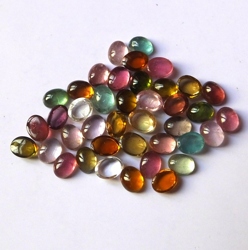 40 Pieces 4X5 MM Oval Shape AAA Natural Multi Color Tourmaline Cabochon Calibrated Gemstone Wholesale Lot 5X4 MM Oval Tourmaline Cabs