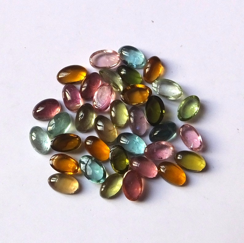 35 Pieces 3X5 MM Oval Shape AAA Natural Multi Color Tourmaline Cabochon Calibrated Gemstone Wholesale Lot 5X3 MM Oval Tourmaline Cabs