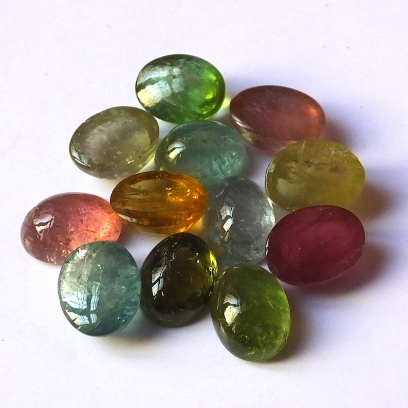 12 Pieces 6X8 MM Oval Shape Natural Tourmaline Cabochon Multi Color Tourmaline Cabs Wholesale Loose Gemstone Lot Multi Color Tourmaline Cabs