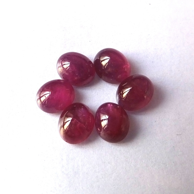 6 Pieces 5X6 MM Oval Shape Natural Unheated Red Ruby Cabochon Calibrated Loose Gemstone Wholesale Lot Natural Earth Mines Red Ruby Cabs