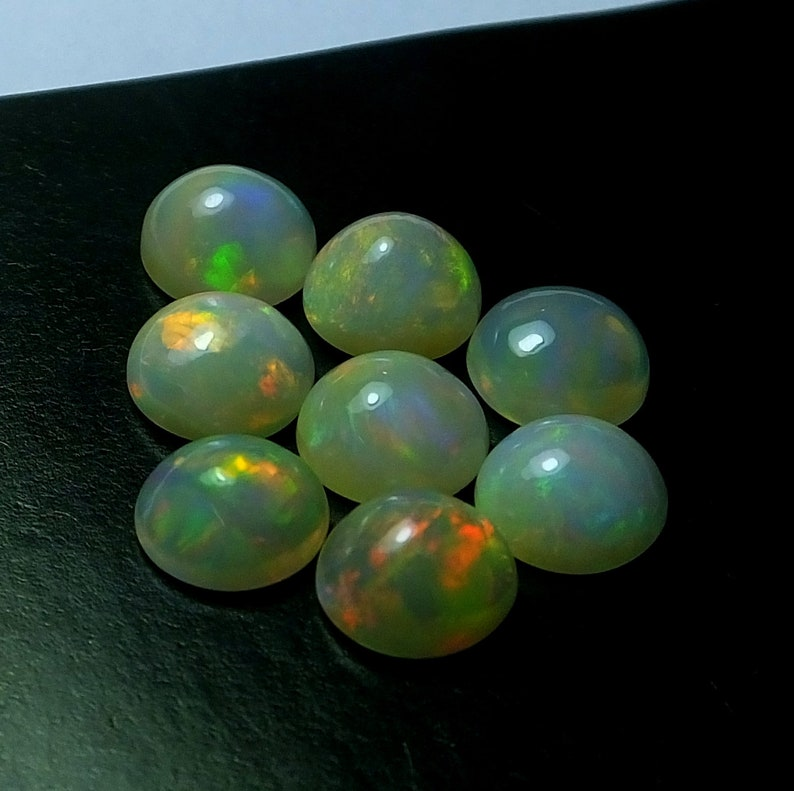 8 Pieces 8X8 MM Round Shape Natural Ethiopian Opal Welo Fire Play Opal Cabochon Calibrated Untreated Gemstone Wholesale Lot