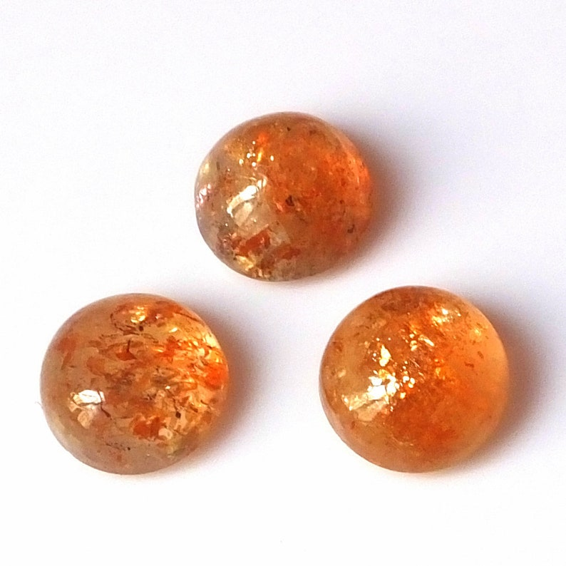 3 Pieces 9X9 MM Round Shape Natural Fire Sunstone Cabochon Cut Untreated Calibrated Loose Gemstone Lot 9X9 Round Cut Fire Sunstone