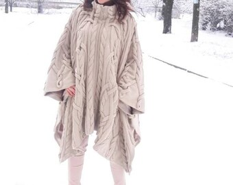 Cable poncho Oversized knit poncho Plus size women wool poncho beige poncho wool poncho Oversized poncho for women poncho Knit wool poncho