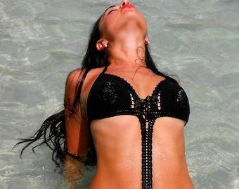 black crochet monokini black swimsuit, crochet swimsuit, bikini black monokini crochet swimsuit beach clothes plage swimwear