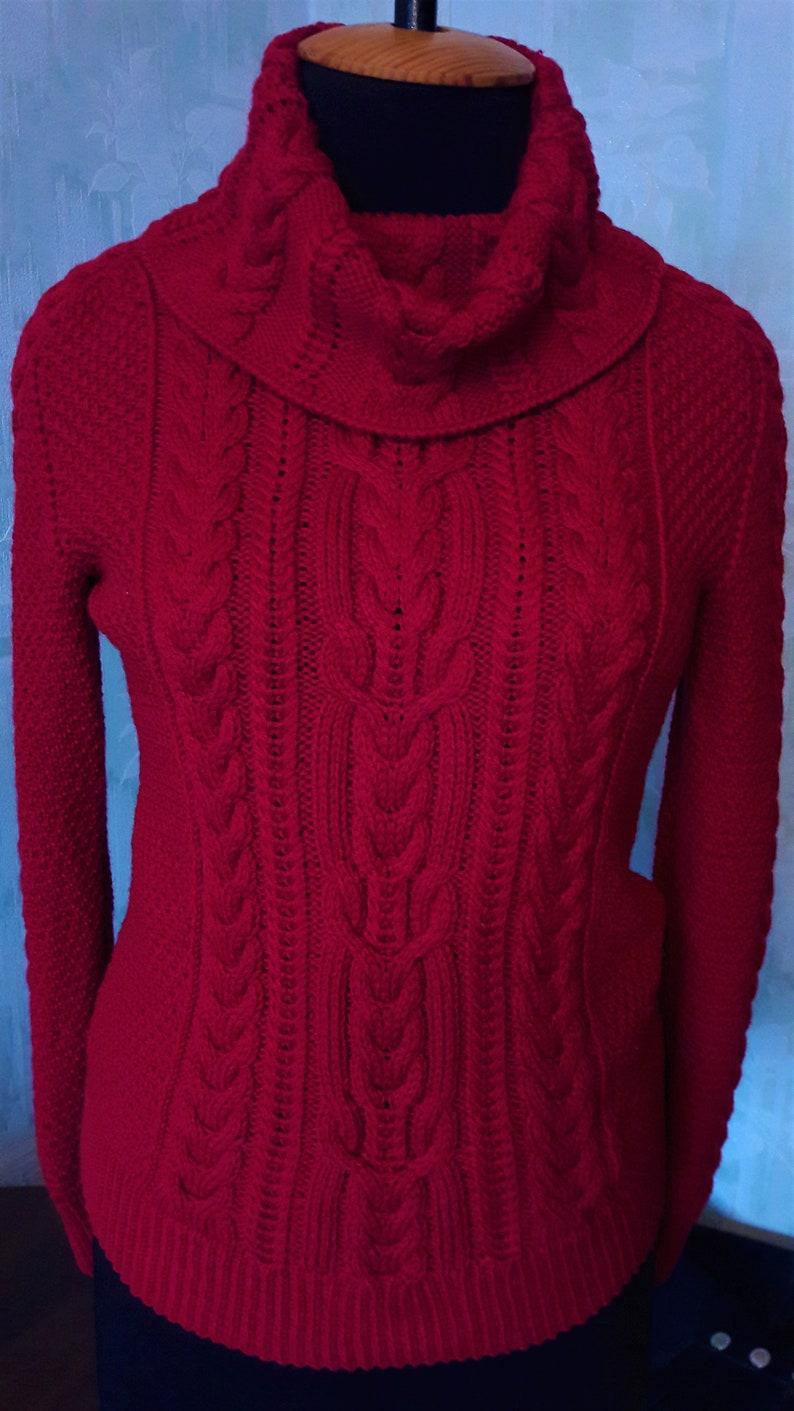 selezione premium 073bd edce0 Maglione collo alto maglia maglione di aran rosso donne maglione morbido  caldo maglione maglia rosso maglia maglione Aran maglia lana cavo