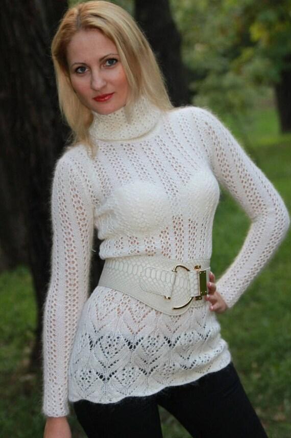 Bianco maglione maglia maglione Merinos dolcevita maglia pizzo  42f6cad9cdc