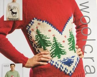 Jarol 1052 Adult Christmas Jumper  DK  KNITTING PATTERN NEW Sizes 81-132cm