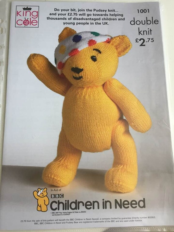 Pudsey Bear Knitting Pattern For Doubleknit Yarn All Funds Etsy