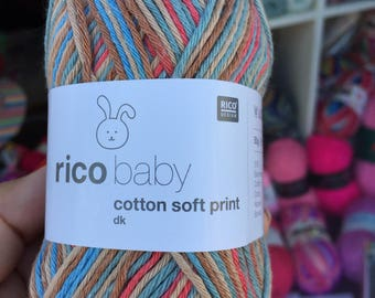 Baby cotton soft print orange purple lemon pastel pink colours mix 50 g 125m for needle size 3.5-4 colour code 016