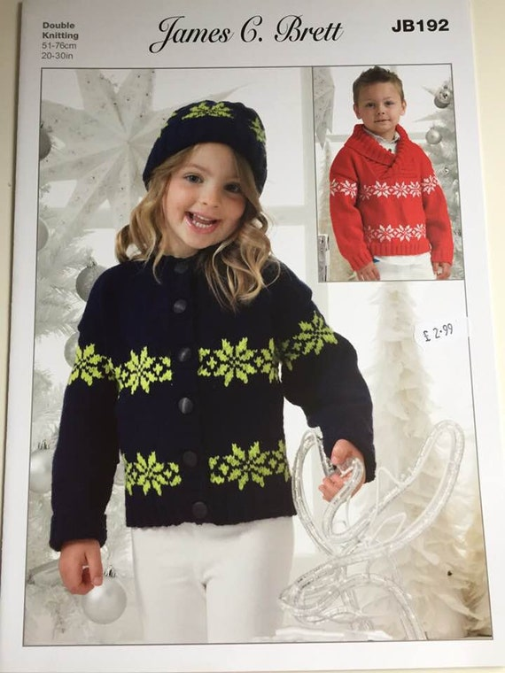 Knitting Pattern Christmas Jumper And Cardigan For Boy Or Girl Etsy