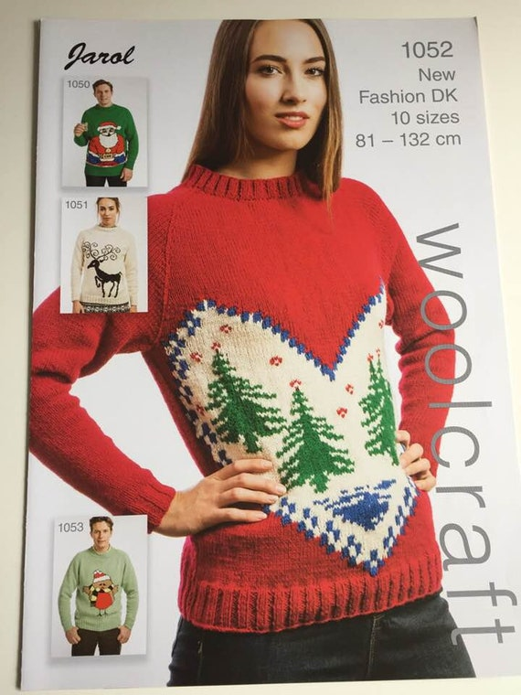 Christmas Jumper Knitting Pattern With Fir Trees And Heart Etsy