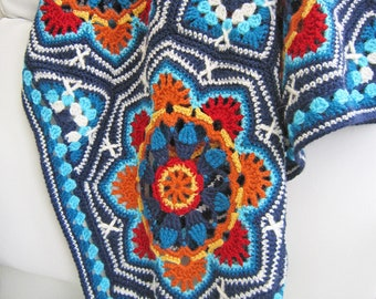 Persian tiles crochet pattern blanket by Jane Crowfoot 12 page full colour printed brochure in UK crochet terms with US crochet translation
