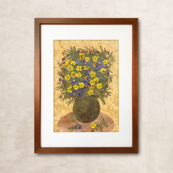 Dried Flower Art Pressed Flower Frame Wall Art Pressed Flower Etsy