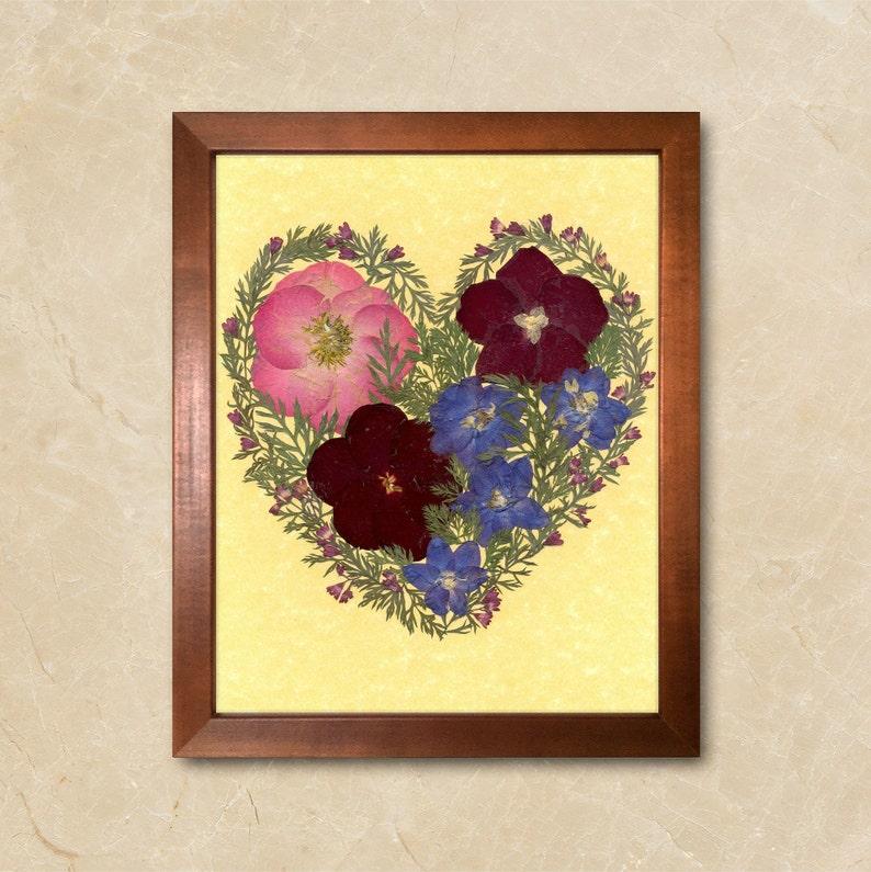 Dried Flower Art Pressed Flowers Framed Dried Flowers Love Gift