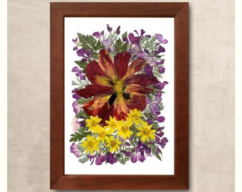 Real dried flowers tulip buttercups fern carrot leaves wooden frame unusual gift mother's gift wall decor flower art floral arranging decor