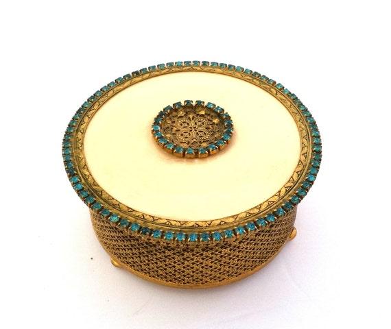 Ormolu Aquamarine Jeweled Trinket Jar with Lid