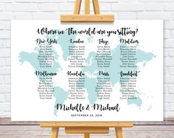 World map wedding seating chart, Travel theme wedding seating plan, personalize wedding table assignment sign