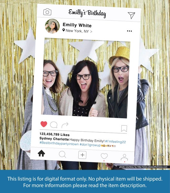 Instagram Frame Diy Photo Booth Prop Birthday Party Photo Etsy