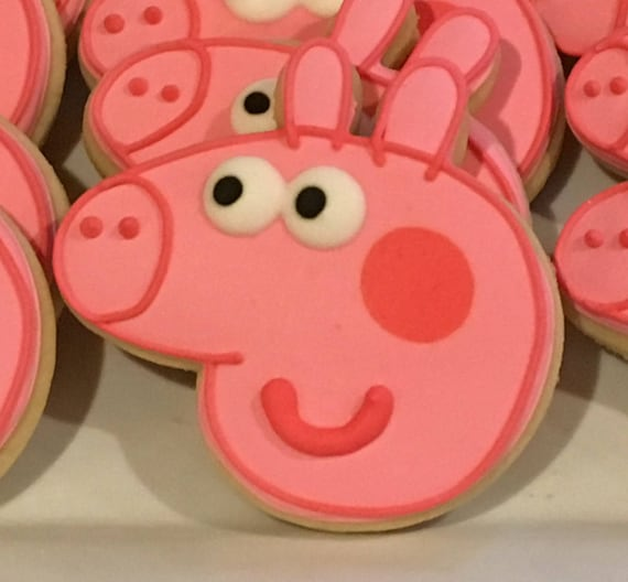 Peppa Pig Decorated Cookies Baby Shower Birthday Party Pink Etsy