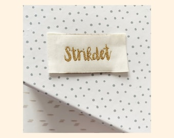 Woven labels 'Strikdet' 1 pcs// vævede labels 'Strikdet' 1 stk