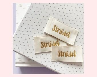 Woven labels 'Strikdet' 3 pcs// vævede labels 'Strikdet' 3 stk