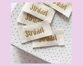 Woven labels 'Strikdet' 5 pcs// vævede labels 'Strikdet' 5 stk