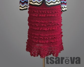 Crochet skirt Dorothy. Wine red midi handmade frilly women day or coctail organic cotton crochet skirt. Made to order. Free shippind.