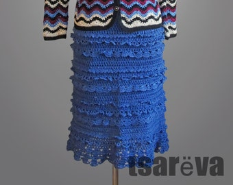 Crochet skirt Dorothy. Royal blue handmade frilly women day or coctail organic cotton crochet skirt. Made to order. Free shippind.