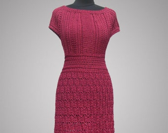 Crochet dress Visionary. Cherry red viscose women handmade beautiful cocktail or casual crochet dress. Made to order. Free shipping.
