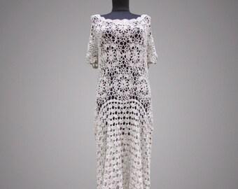 Crochet dress Izabel. Beige handmade women bohemian maxi day or special occasion organic cotton crochet dress. Made to order. Free shipping.