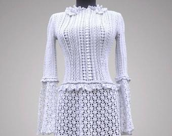 Crochet dress Antuanette. Handmade women evening or cocktail crochet dress. Free shipping. Made to order.