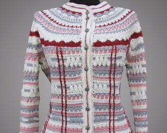 Crochet tweed suit Megan. Multicolor handmade tweed organic cotton crochet suit. Made to order. Free shipping.