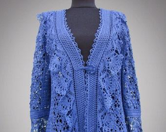 Crochet cardigan Natalie. Romantic blue handmade lace boho women organic cotton beautiful crochet cardigan. Made to order. Free shipping.