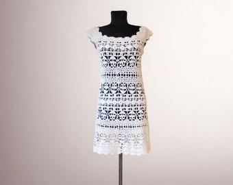 Crochet dress Wendy. Summer beach women handmade white organic cotton crochet dress. Free shipping. Ready to ship.