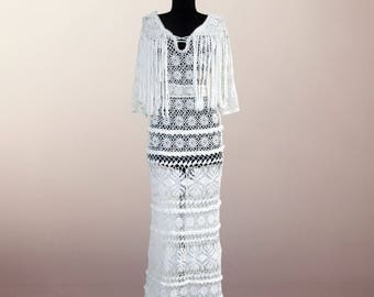 Crochet dress Selma. White maxi lace wedding or evening dress. Free shipping. Made to order.