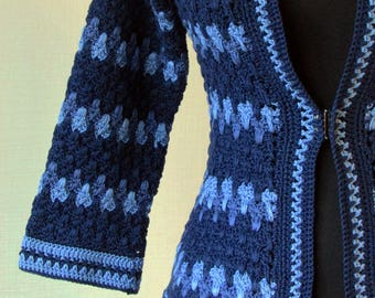 Crochet tweed jacket Lora. Handmade women jacket. Free shipping. Made to order.