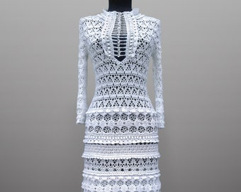 Crochet dress Eliza. White maxi lace women wedding or coctail bohemian collared organic cotton crochet dress. Custom. Free shipping.