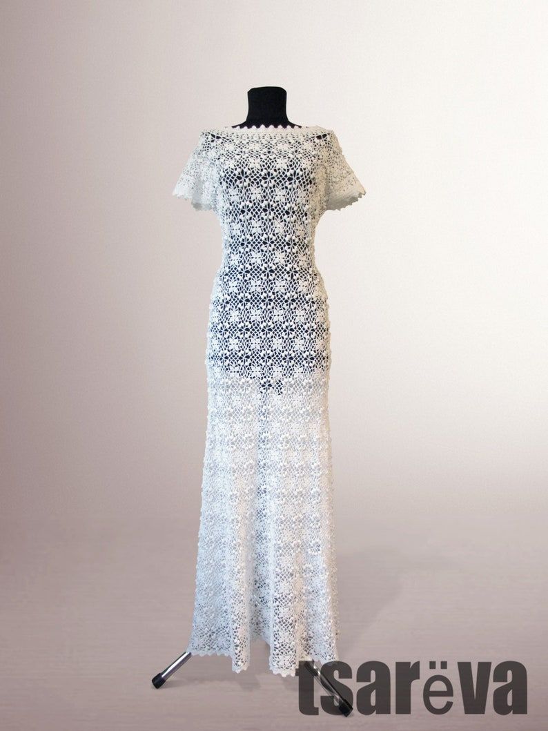 498599a3556f2 Crochet dress Meredith. Handmade women white wedding or special occasion  organic cotton crochet dress. Free shipping. Made to order.