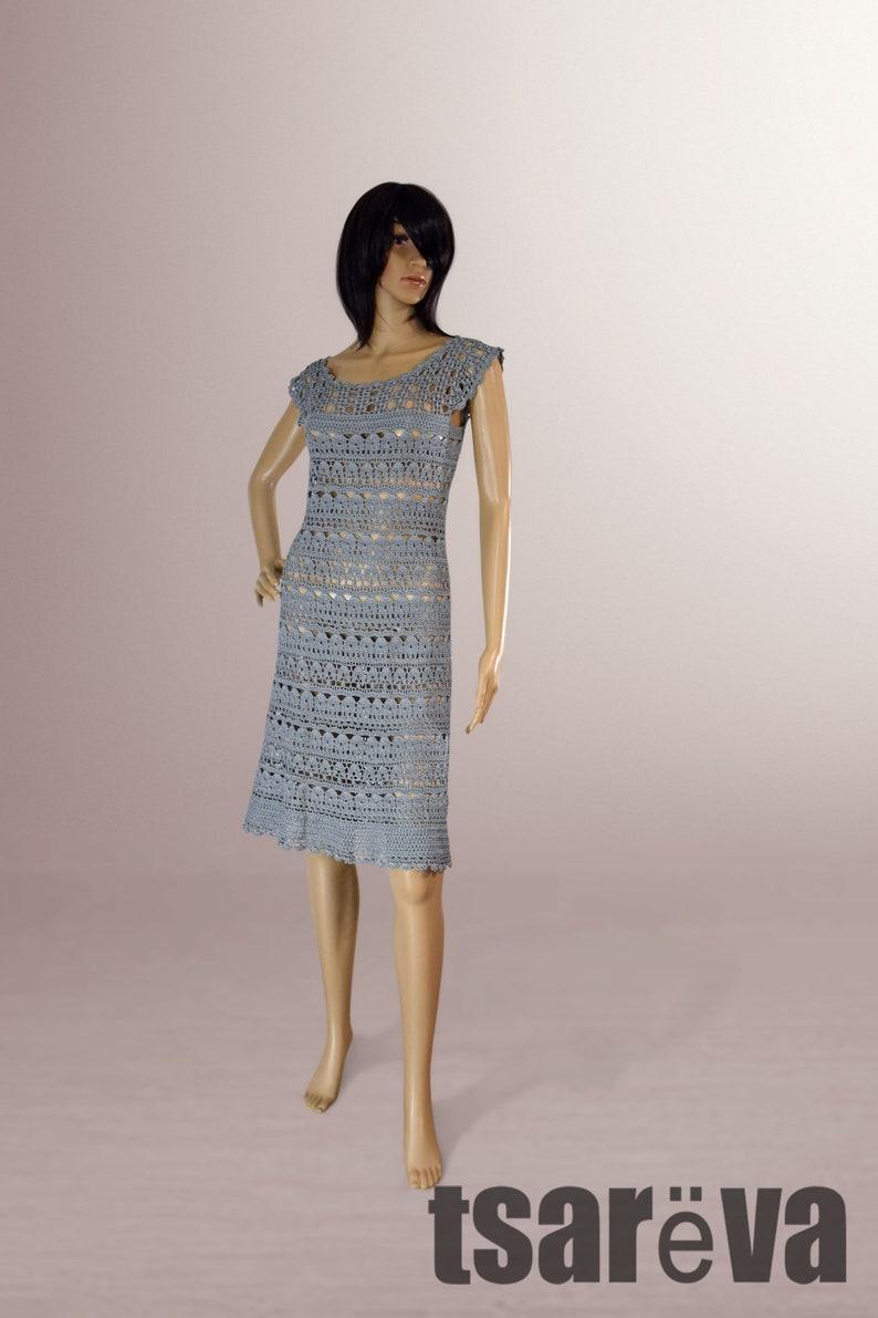 6fbbb485eee3f Crochet dress Hannah. Handmade grey women casual or special occasion  organic cotton crochet dress. Ready to ship. Free shipping.