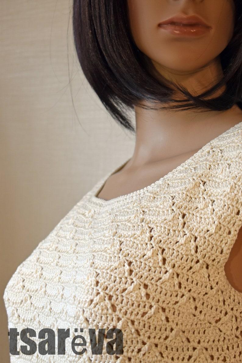 Handmade white summer women mini crochet dress Free shipping Made to order. Crochet dress Manuela